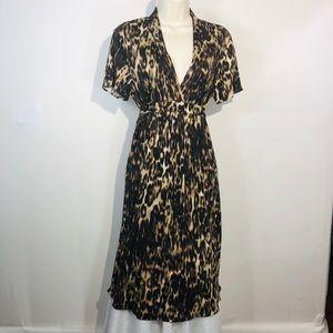 Elie Tahiti Silk Stretch Dress Animal Print Size M